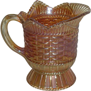 Westmoreland, Marigold, Basketweave & Cable Carnival Glass Creamer