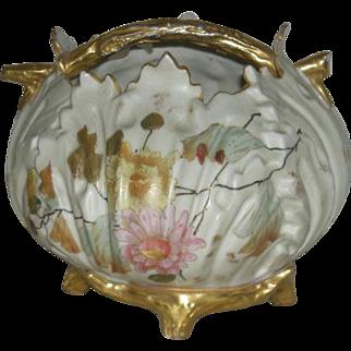 Rondalstadt, Germany, Enamel Decorated Porcelain Basket