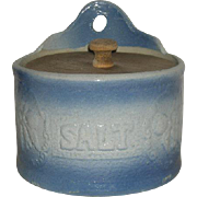 Blue, Salt Glazed, Pottery, Hanging Salt Box