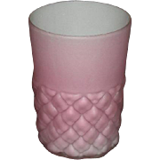 Consolidated Glass Co., Satin Pink Overlay, Diamond Quilt Tumbler