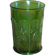 Northwood, Green, Singing Birds, Carnival Glass Tumbler