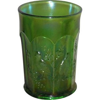 Northwood, Green, Singing Birds, Carnival Glass Tumbler