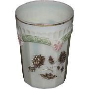 Northwood, Chrysanthemum Sprig, Gold Decorated, Custard Glass Tumbler