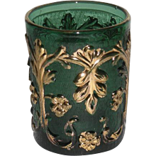 Green, Gold Decorated EAPG Tumbler