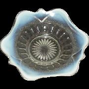 Dugan, White Opalescent, Blocked Thumbprint & Beads Plate