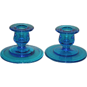 Pair, Fenton, Sapphire Blue, Short Candle Sticks