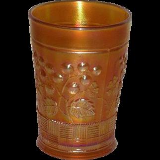 Northwood, Marigold, Raspberry, Carnival Glass Tumbler