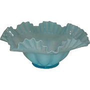 "Fenton, Blue Overlay, 10 1/2"" Double Crimped Bowl"