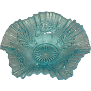 Blue Opalescent, Jefferson Glass Co., Blossoms & Palms Bowl