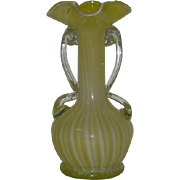 Hand Blown, Yellow & White, Cased, Stripe, Art Glass Vase