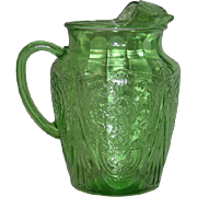 Green, Hazel Atlas, Royal Lace, 96 Oz. Ice Lip Pitcher