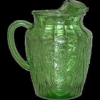 Green, Hazel Atlas, Royal Lace, 96 Oz. Ice Lip Pitcher