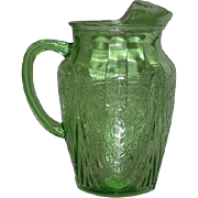 Green, Hazel Atlas, Royal Lace, 68 Oz.  Ice Lip Pitcher