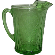 Green, Hazel Atlas, 48 Oz., Straight Sided Ice Lip Pitcher