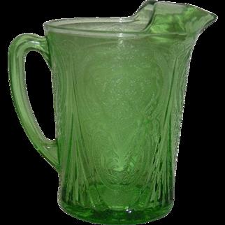 Green, Hazel Atlas, 48 Oz., Straight Sided Ice Lip Pitcher
