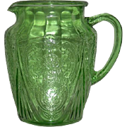 Green, Hazel Atlas, 86 Oz., Royal Lace Pitcher