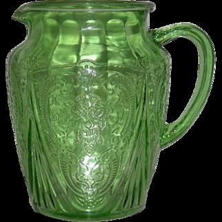 Green, Hazel Atlas, 86 Oz., Royal Lace Pitcher