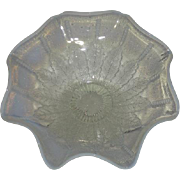 Northwood, White Opalescent, Leaf & Beads Ruffled Bowl