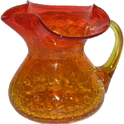 Blenko Art Glass, Amberina Crackle Glass Cream Pitcher