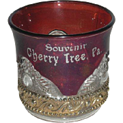 U.S. Glass Co., Ruby Stained, Lacy Medallion Souvenir Toothpick Holder