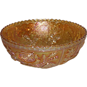 Imperial, Marigold, Lustre Rose Carnival Glass Bowl