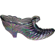 Fenton, Lavender, Carnival Glass Cat Slipper