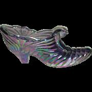 Fenton, Lavender, Carnival Glass Cat Slipper