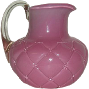 Consolidated Glass Co., Cased, Pink, Diamond Quilt Pitcher