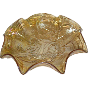 Imperial, Marigold, Pansy, 8 Ruffled Carnival Glass Bowl