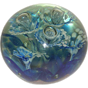 Hand Blown, Controlled Bubble, Floral Pattern, Ship Mark Paperweight