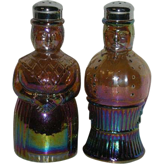 Pair, Imperial, Maid & Butler, Carnival Glass Salt & Pepper Shakers