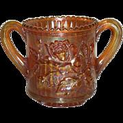 Imperial, Marigold, Lustre Rose Carnival Glass Spooner