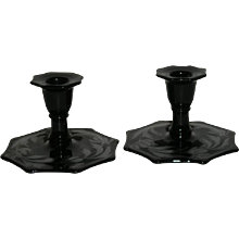 Pair, Silver Overlay, Deep Red, Eight Sided Candlesticks