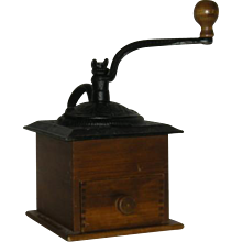 Wood & Cast Iron, Dovetailed, Hand Crank Coffee Grinder