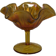 Fenton, Amber, Smooth Rib Carnival Glass Compote