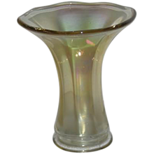 Imperial, Clambroth, Smooth Panels, Carnival Glass Squat Vase