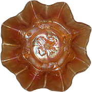 Dugan, Marigold, Apple Blossom, Stretch/Carnival Glass Bowl