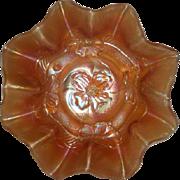 Dugan, Marigold, Apple Blossom, Stretch/Carnival Glass Bowl