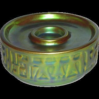 Zsonay, PECS, Hungary, Green/Gold Eosin Glaze Candle Holder/Stand