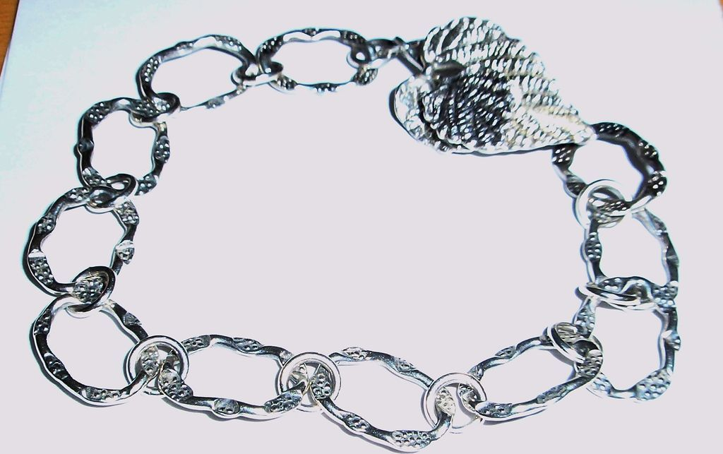 Sterling Silver Leaf Clasp  - Bracelet
