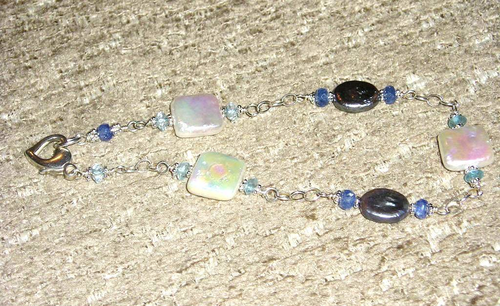 Sterling SIlver Square and Oval Coin Pearls with Sapphire and Topaz Bead bracelet