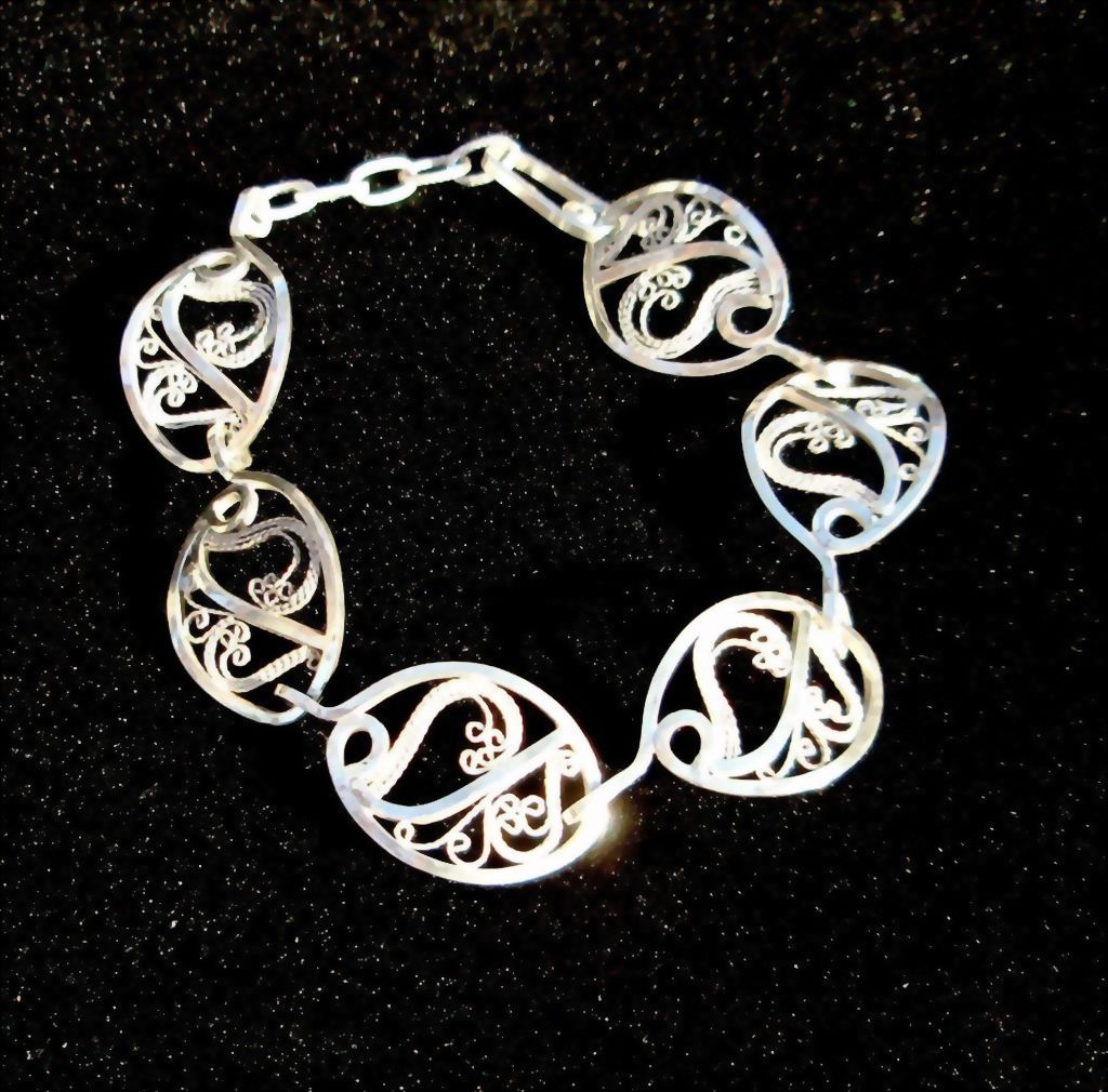 Sterling and Fine Silver Filigree Oval Link Bracelet
