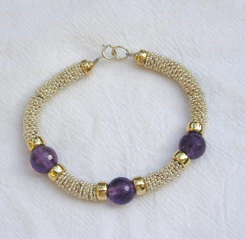 Sterling Silver and 14kt Gold Large Amethyst Bead Bracelet