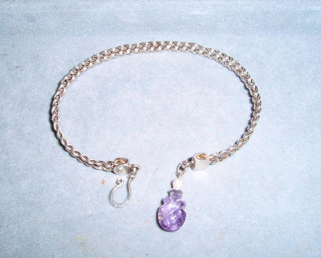 Sterling Silver Amethyst 4 Strand Mesh  - Bracelet