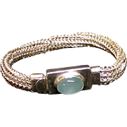 Sterling Silver Viking Knit Bracelet with Aqua Marine Box Clasp