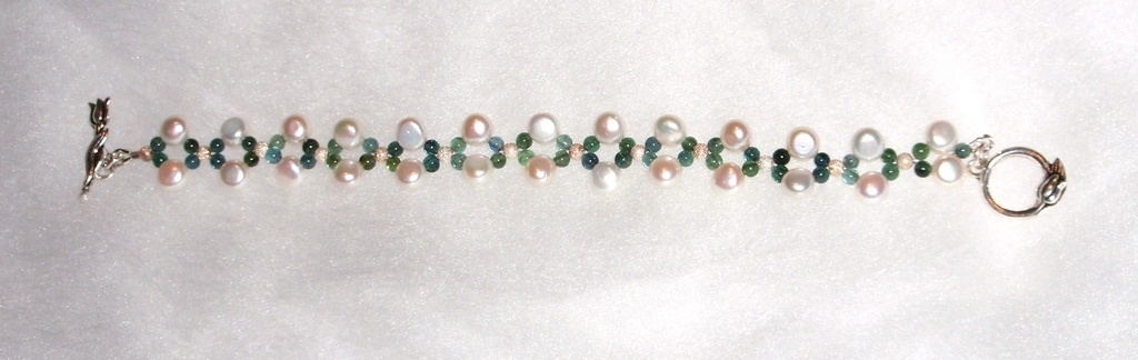 Fresh Water Pearl and Tourmaline beaded Bracelet