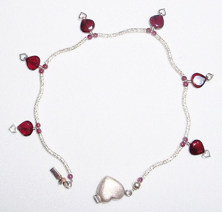 Sterling Silver Swirls and Garnet Hearts - Bracelet