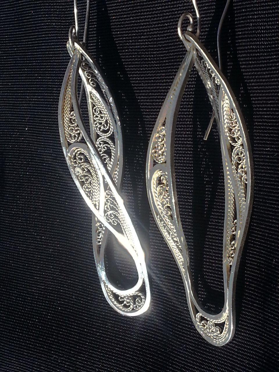 Sterling Silver Filigree Helical Swirl - Earrings