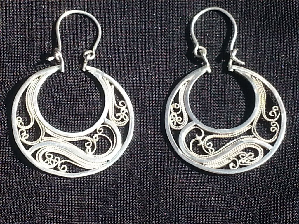 Sterling & Fine SIlver Filigree Hoops - Earrings