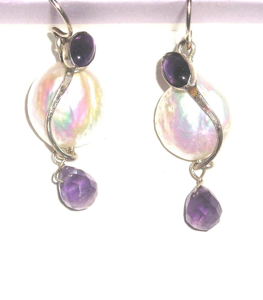 Freshwater Coin Pearls and Amethyst Earrings in Sterling Silver